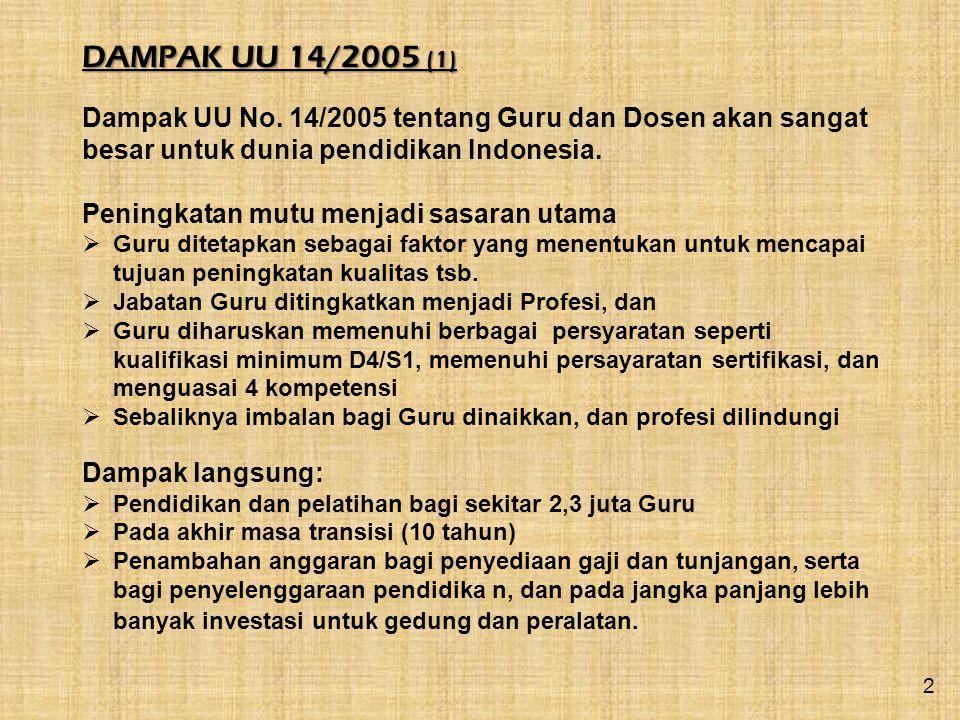 DAMPAK UU 14/2005 (1) Dampak UU No. 14/2005 tentang Guru dan Dosen akan sangat besar untuk dunia pendidikan Indonesia.