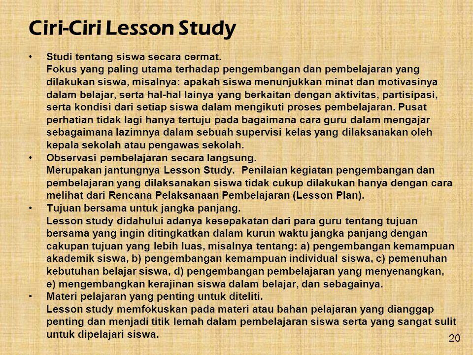 Ciri-Ciri Lesson Study