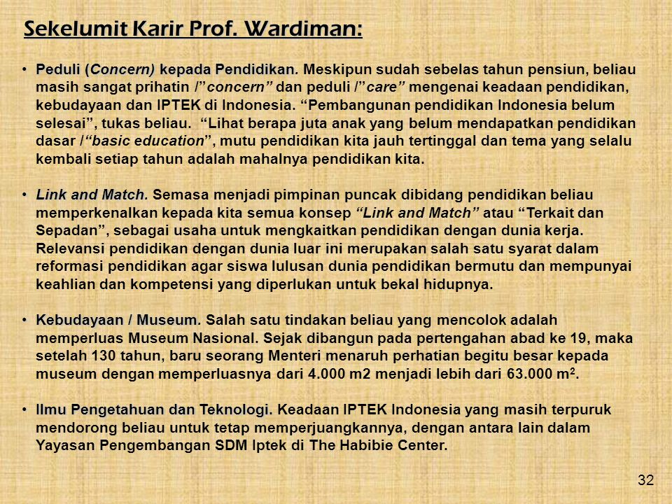 Sekelumit Karir Prof. Wardiman: