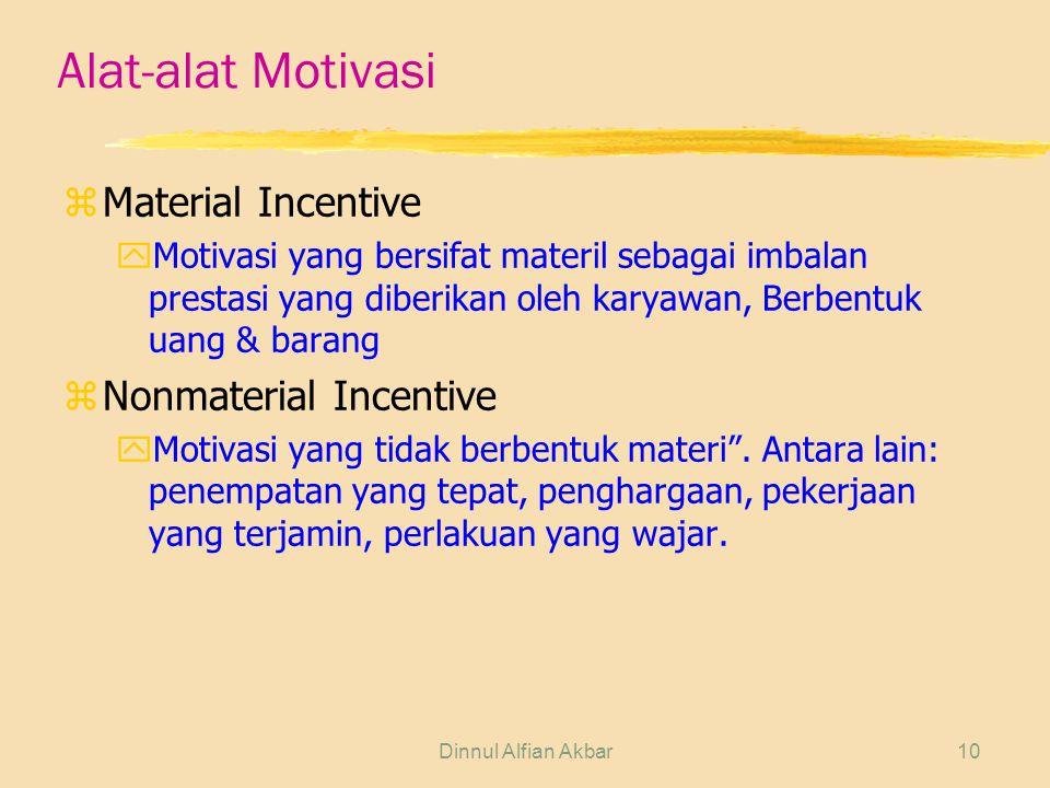 Alat-alat Motivasi Material Incentive Nonmaterial Incentive