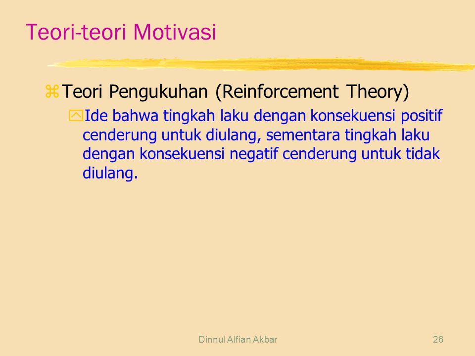 Teori-teori Motivasi Teori Pengukuhan (Reinforcement Theory)
