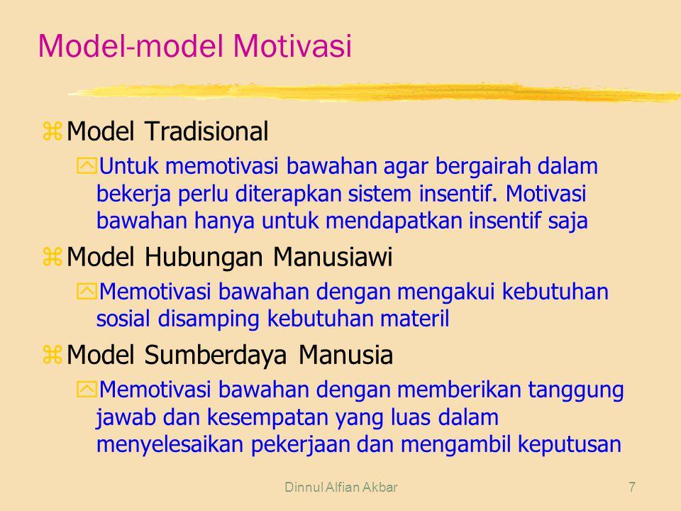 Model-model Motivasi Model Tradisional Model Hubungan Manusiawi