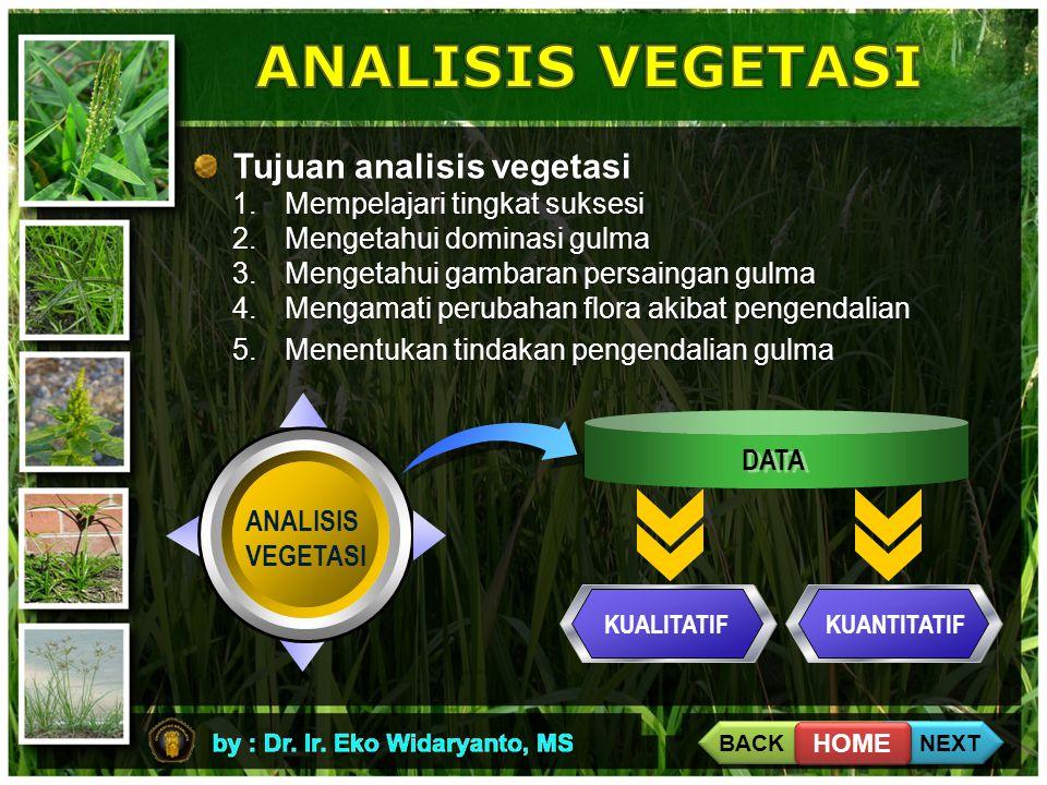 ANALISIS VEGETASI Tujuan analisis vegetasi Mempelajari tingkat suksesi