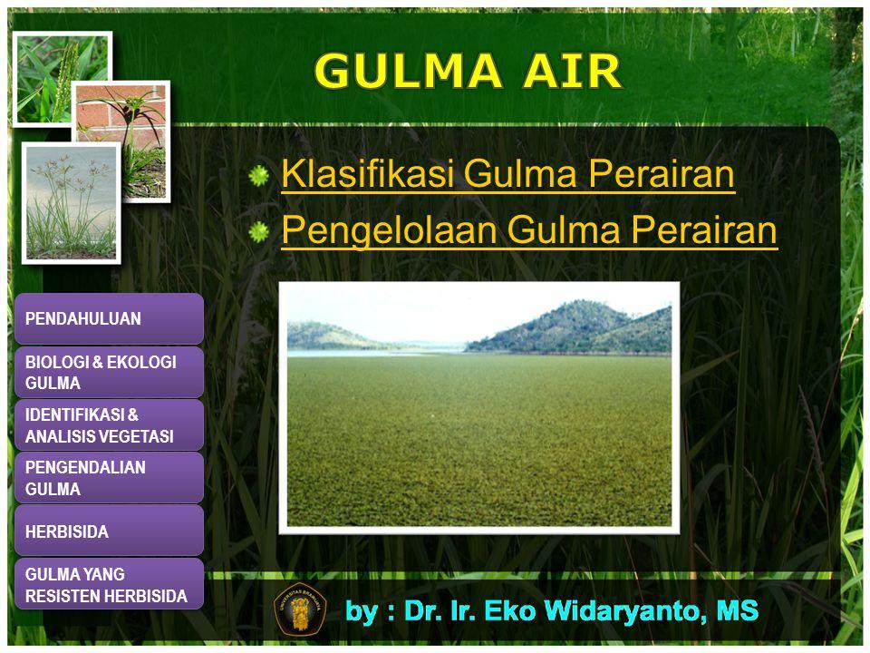 GULMA AIR Klasifikasi Gulma Perairan Pengelolaan Gulma Perairan