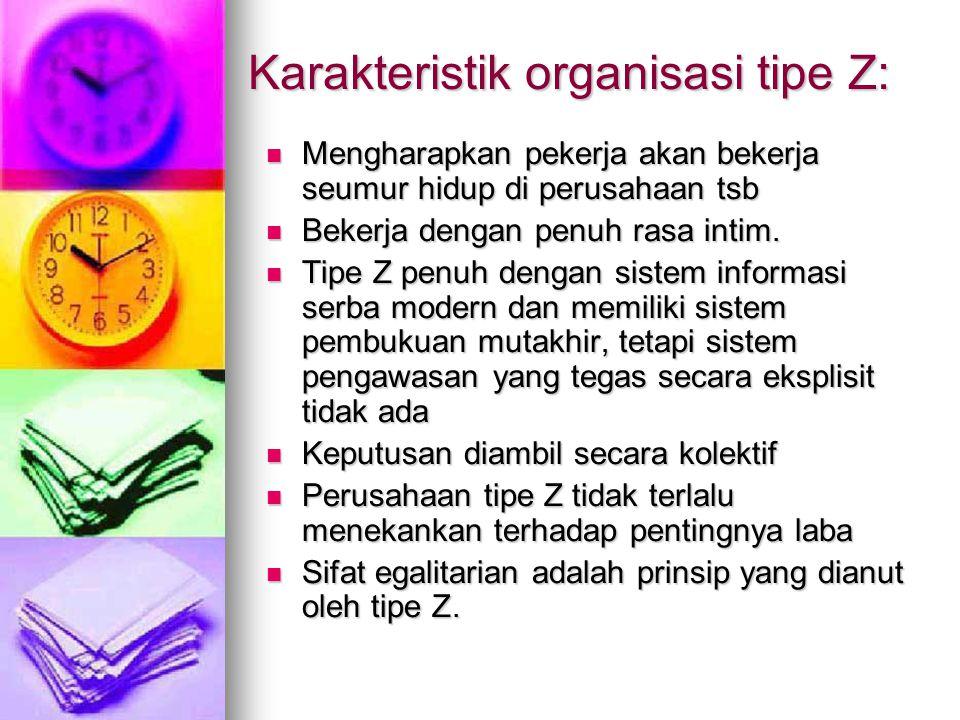 Karakteristik organisasi tipe Z: