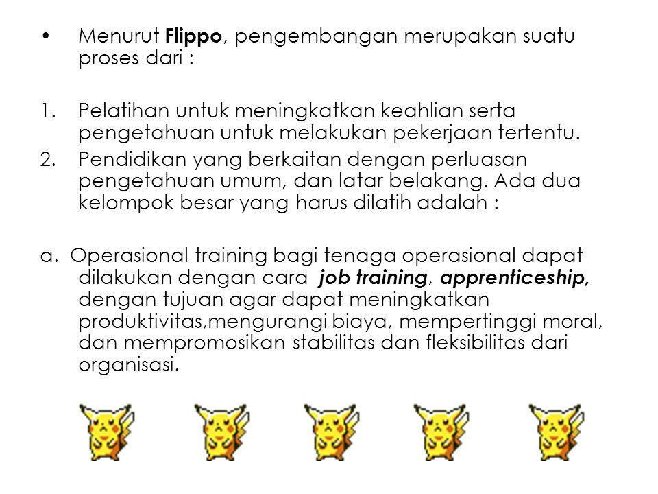 Menurut Flippo, pengembangan merupakan suatu proses dari :