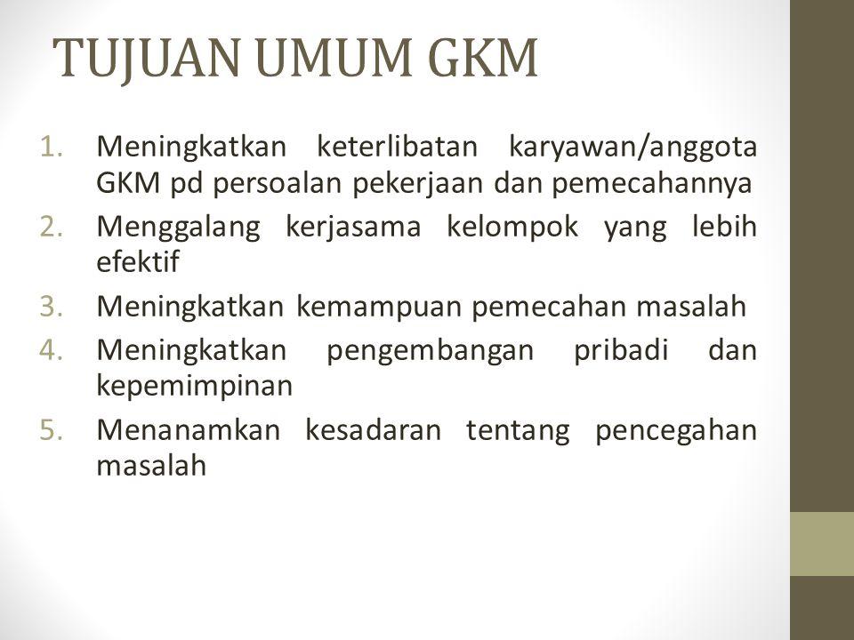 TUJUAN UMUM GKM Meningkatkan keterlibatan karyawan/anggota GKM pd persoalan pekerjaan dan pemecahannya.