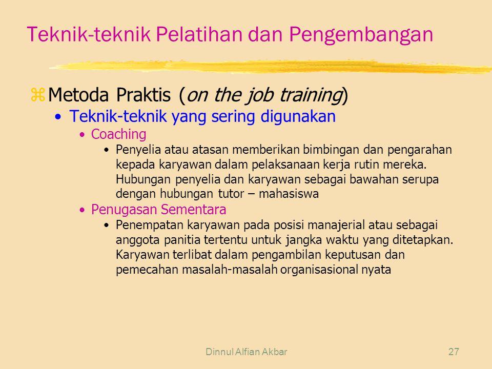 Teknik-teknik Pelatihan dan Pengembangan