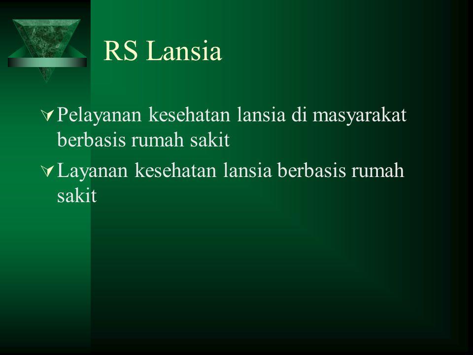 RS Lansia Pelayanan kesehatan lansia di masyarakat berbasis rumah sakit.
