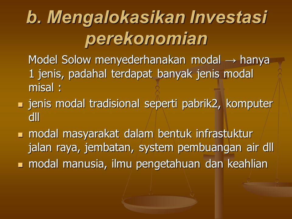 b. Mengalokasikan Investasi perekonomian