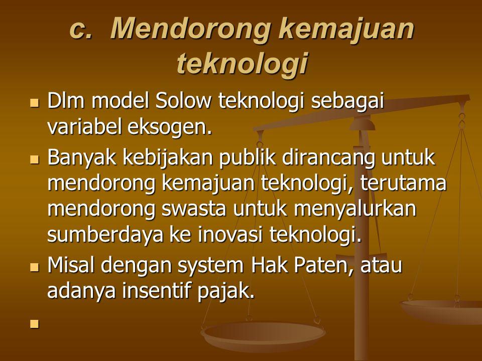 c. Mendorong kemajuan teknologi