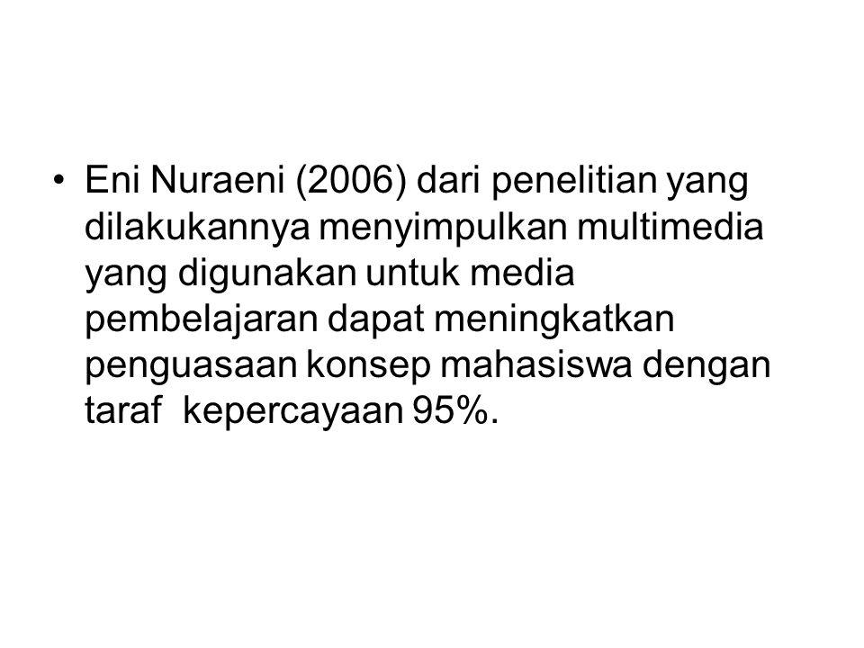 Eni Nuraeni (2006) dari penelitian yang dilakukannya menyimpulkan multimedia yang digunakan untuk media pembelajaran dapat meningkatkan penguasaan konsep mahasiswa dengan taraf kepercayaan 95%.