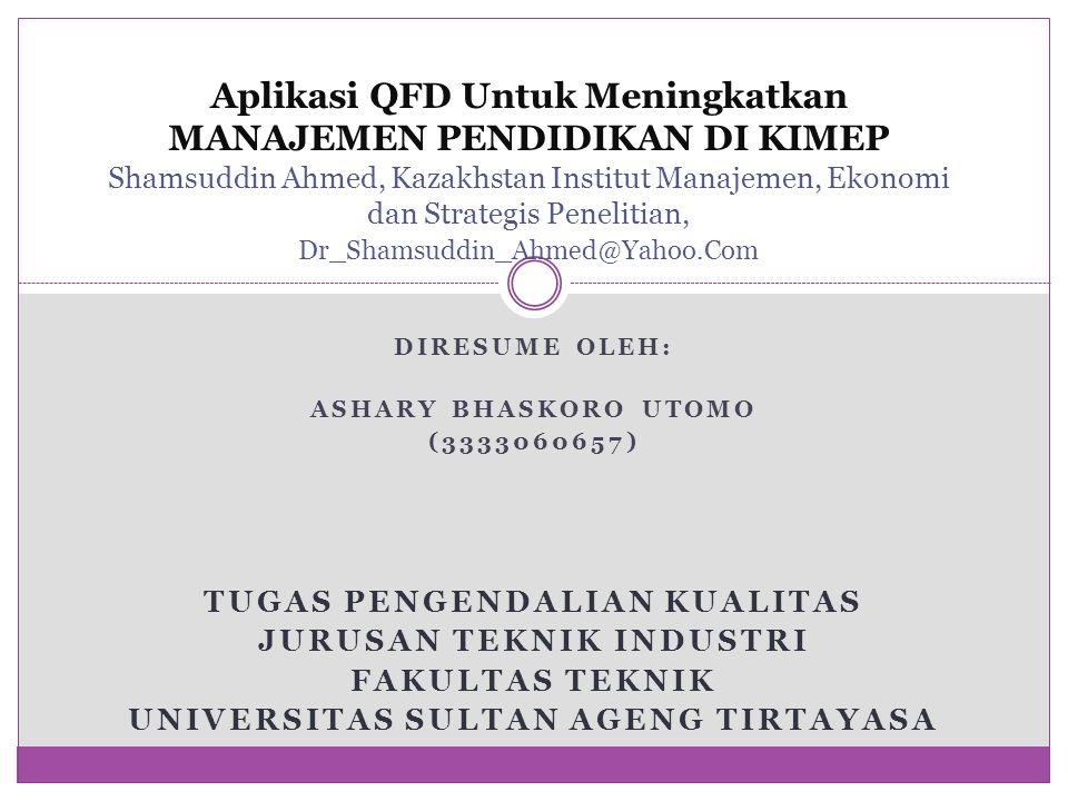 Aplikasi QFD Untuk Meningkatkan MANAJEMEN PENDIDIKAN DI KIMEP Shamsuddin Ahmed, Kazakhstan Institut Manajemen, Ekonomi dan Strategis Penelitian, Dr_Shamsuddin_Ahmed@Yahoo.Com