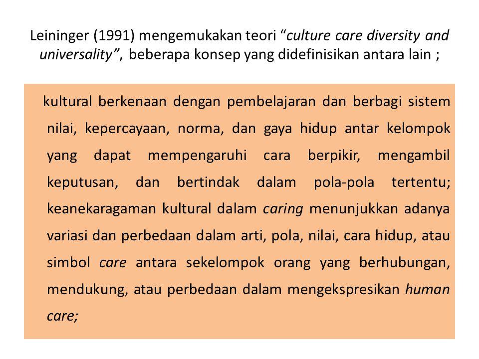 Leininger (1991) mengemukakan teori culture care diversity and universality , beberapa konsep yang didefinisikan antara lain ;