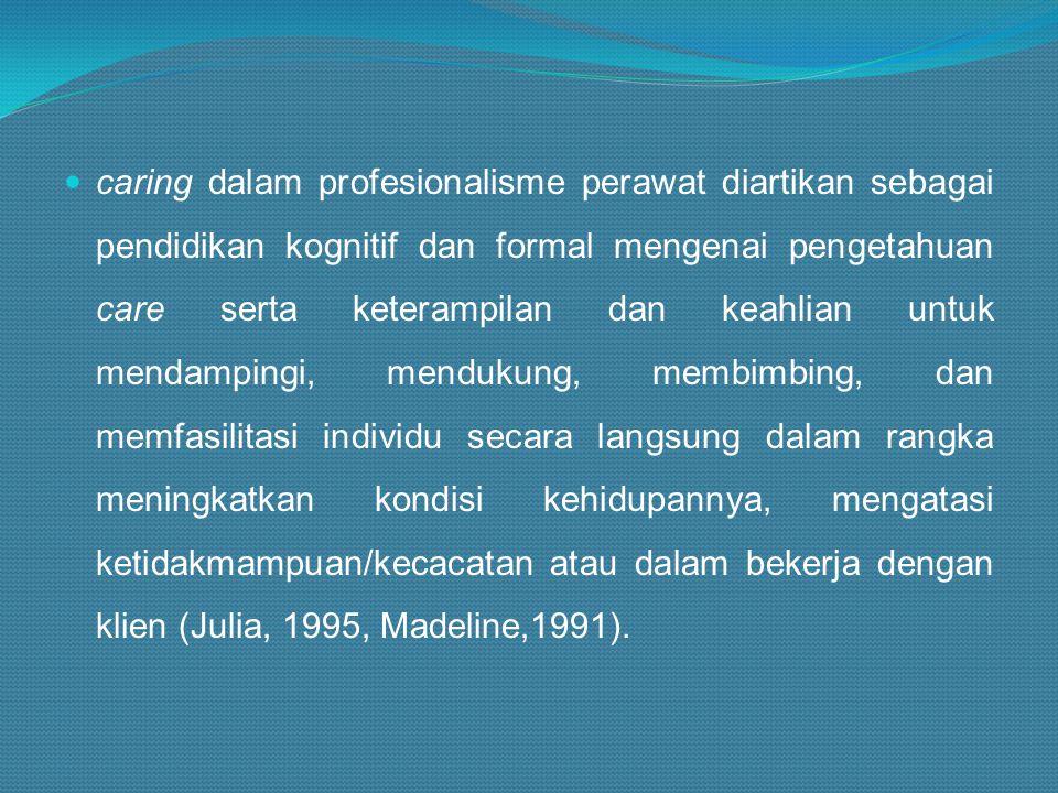 caring dalam profesionalisme perawat diartikan sebagai pendidikan kognitif dan formal mengenai pengetahuan care serta keterampilan dan keahlian untuk mendampingi, mendukung, membimbing, dan memfasilitasi individu secara langsung dalam rangka meningkatkan kondisi kehidupannya, mengatasi ketidakmampuan/kecacatan atau dalam bekerja dengan klien (Julia, 1995, Madeline,1991).