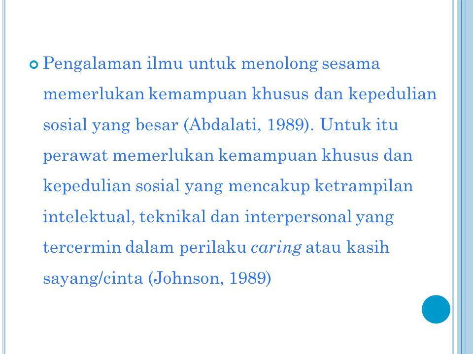 Pengalaman ilmu untuk menolong sesama memerlukan kemampuan khusus dan kepedulian sosial yang besar (Abdalati, 1989).