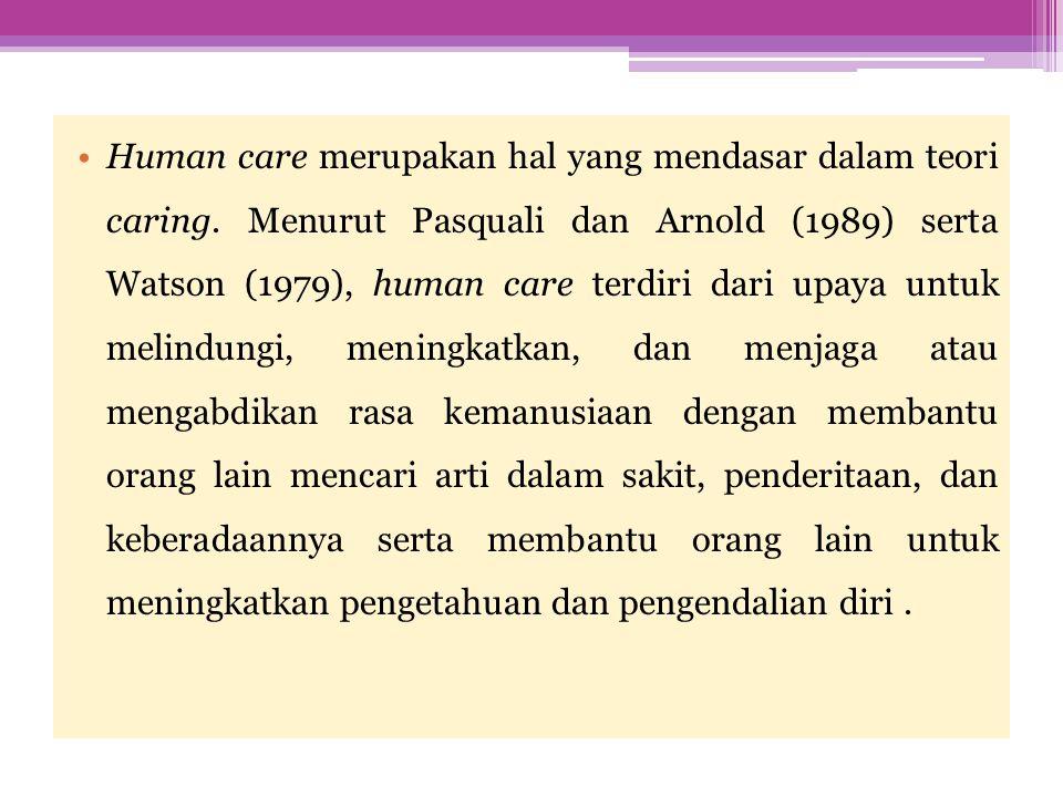 Human care merupakan hal yang mendasar dalam teori caring