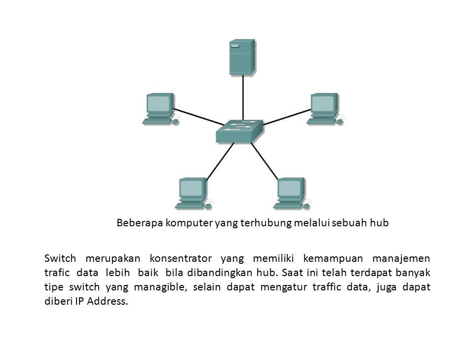 Beberapa komputer yang terhubung melalui sebuah hub
