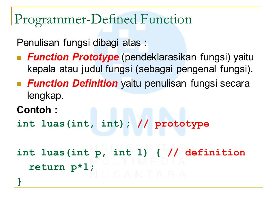 Programmer-Defined Function