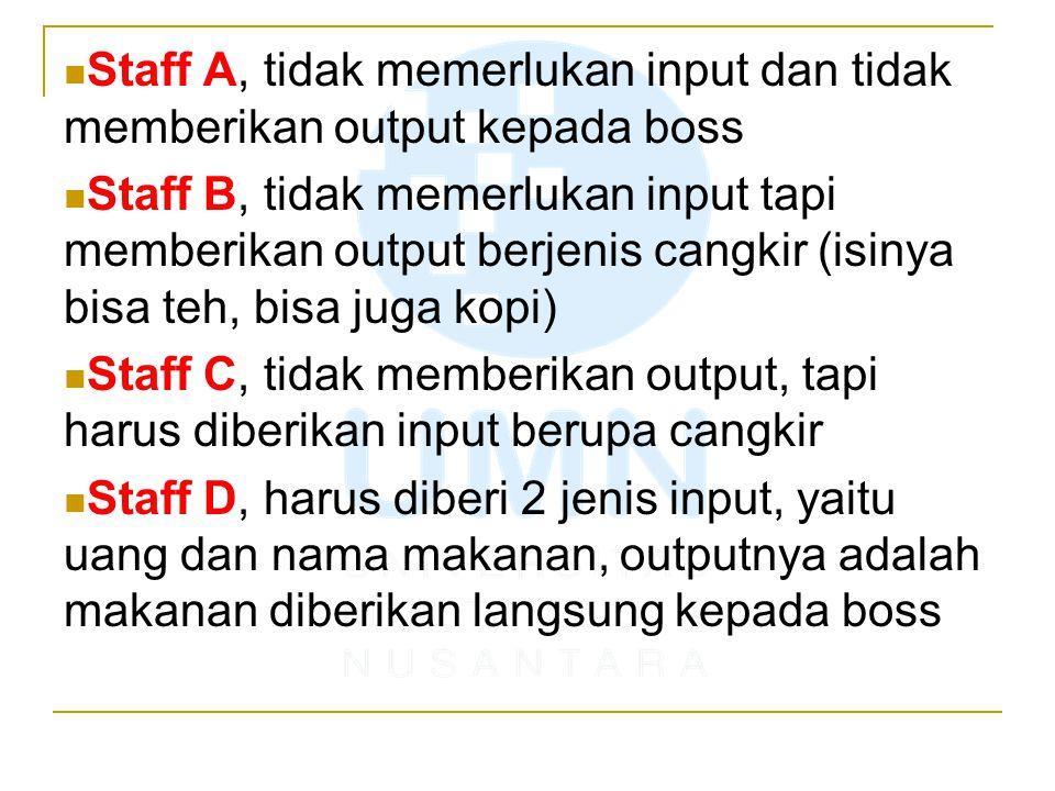 Staff A, tidak memerlukan input dan tidak memberikan output kepada boss