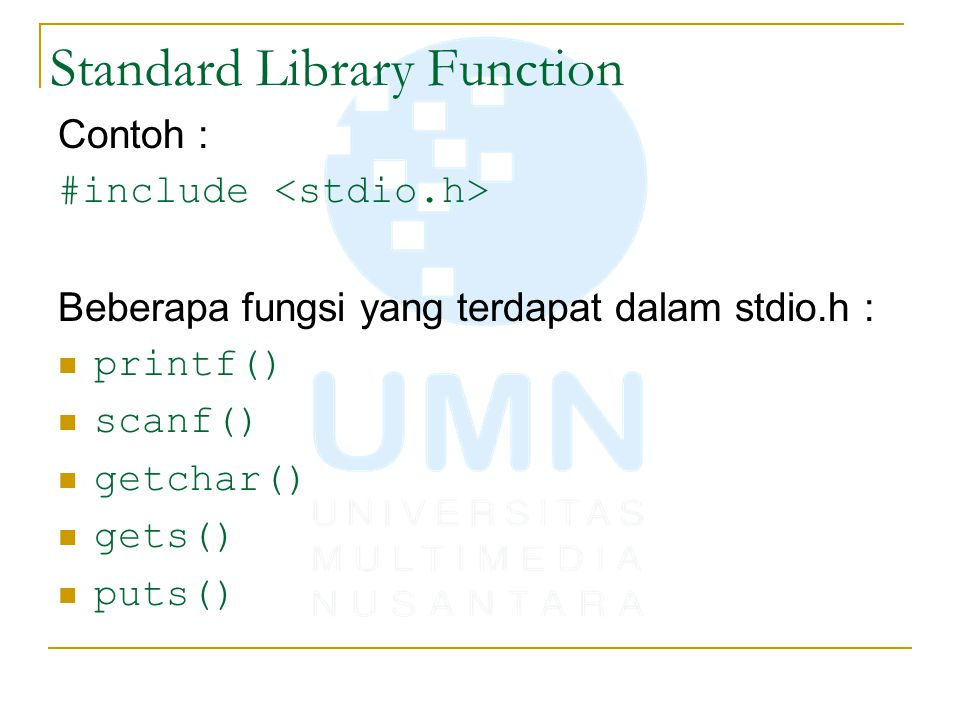 Standard Library Function