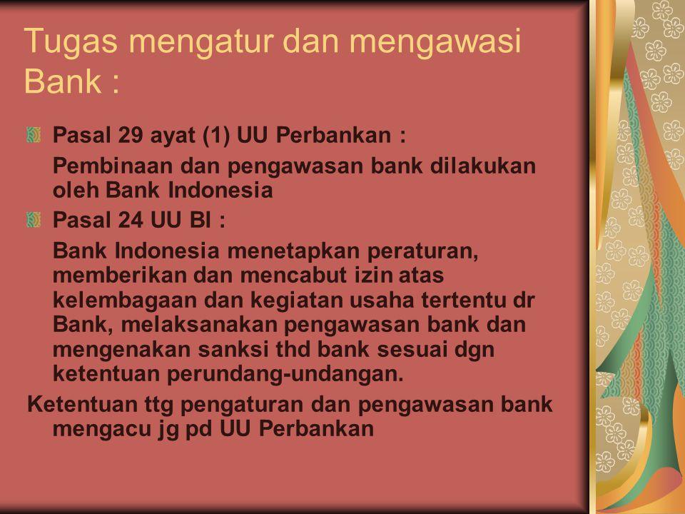 Tugas mengatur dan mengawasi Bank :