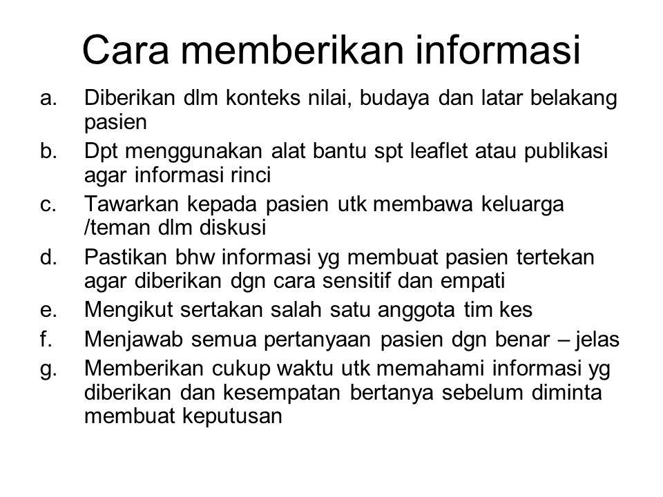 Cara memberikan informasi