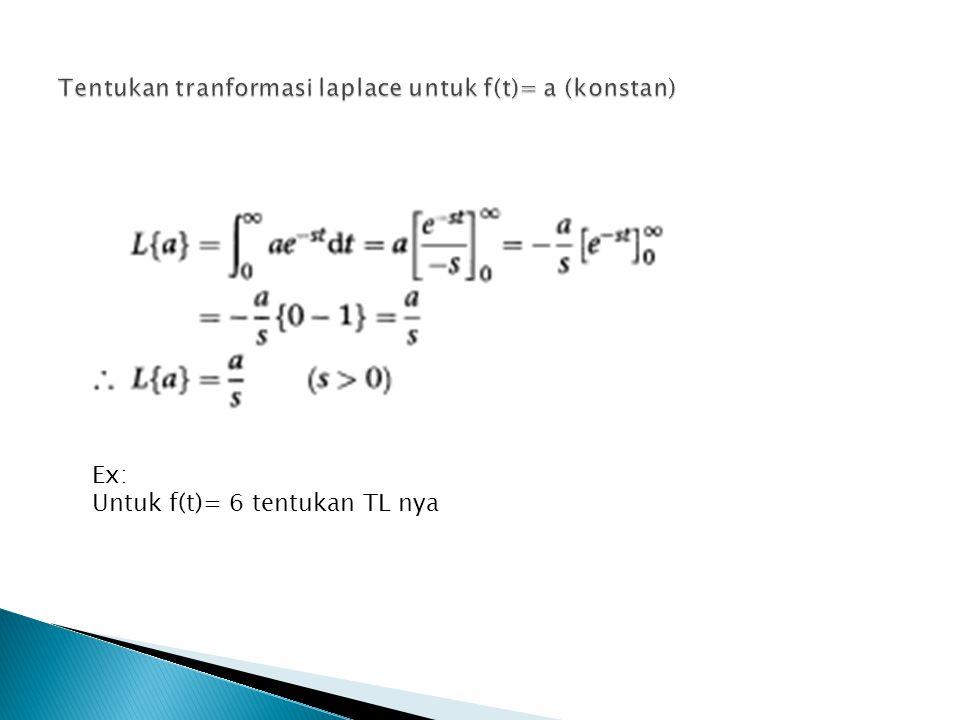 Tentukan tranformasi laplace untuk f(t)= a (konstan)