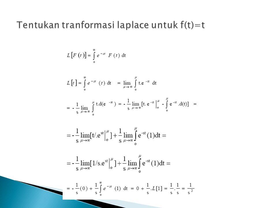 Tentukan tranformasi laplace untuk f(t)=t