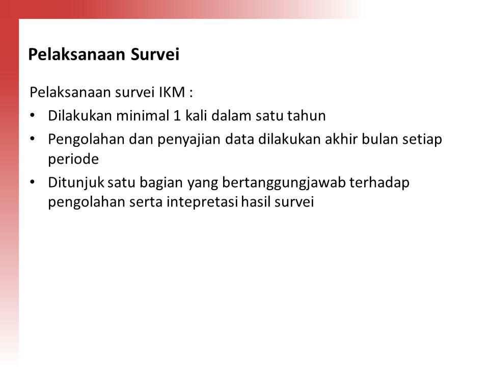 Pelaksanaan Survei Pelaksanaan survei IKM :