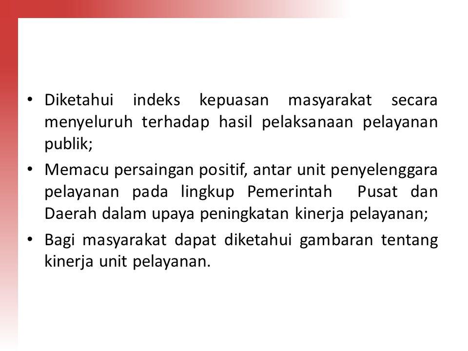 Diketahui indeks kepuasan masyarakat secara menyeluruh terhadap hasil pelaksanaan pelayanan publik;