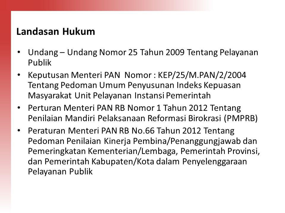 Landasan Hukum Undang – Undang Nomor 25 Tahun 2009 Tentang Pelayanan Publik.