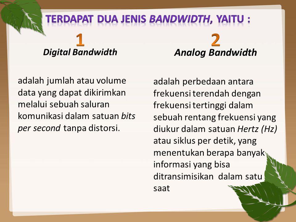 Terdapat dua jenis bandwidth, yaitu :