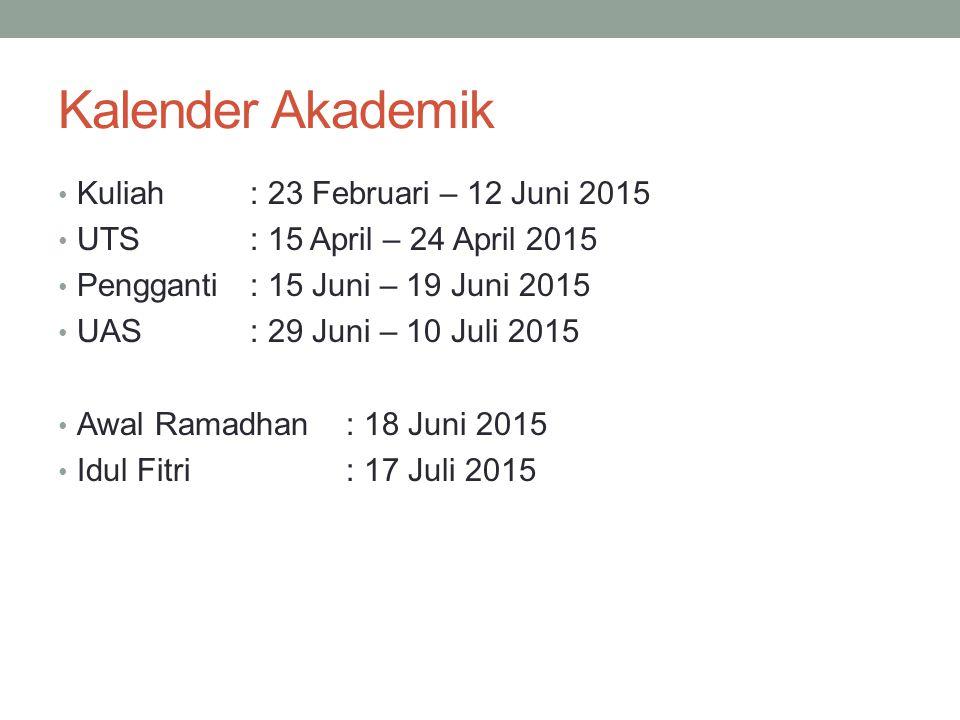 Kalender Akademik Kuliah : 23 Februari – 12 Juni 2015