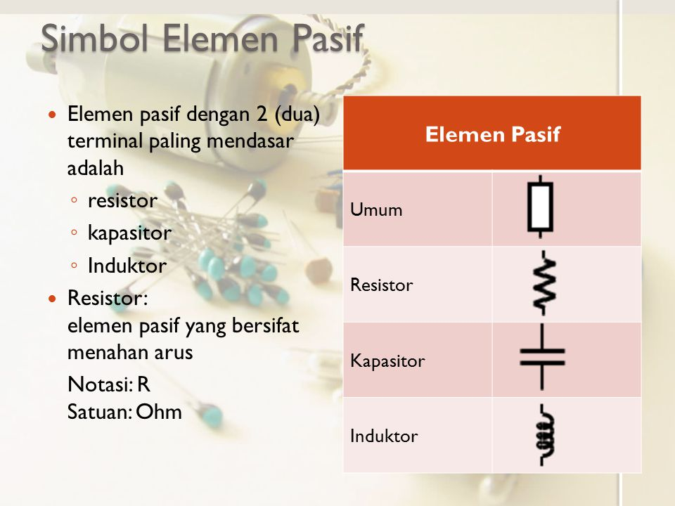 Simbol Elemen Pasif Elemen Pasif