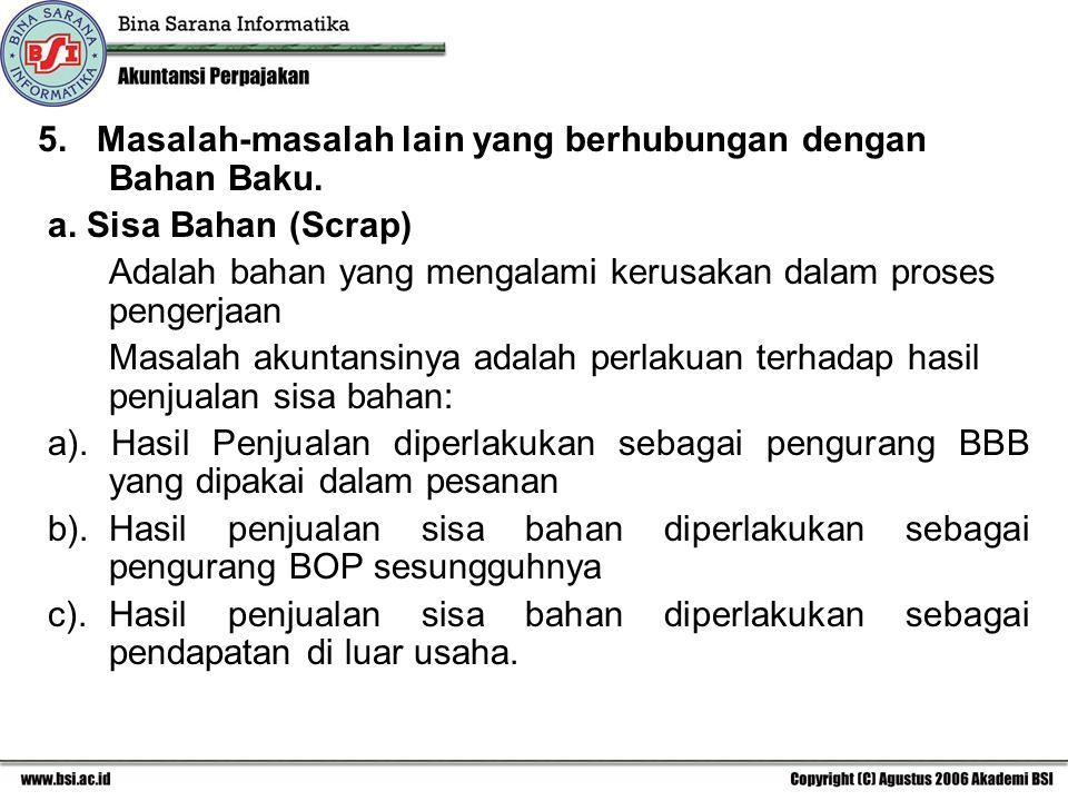 5. Masalah-masalah lain yang berhubungan dengan Bahan Baku.