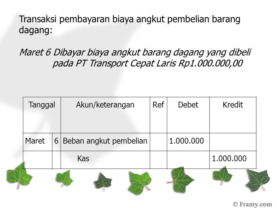 Transaksi pembayaran biaya angkut pembelian barang dagang: Maret 6 Dibayar biaya angkut barang dagang yang dibeli pada PT Transport Cepat Laris Rp1.000.000,00