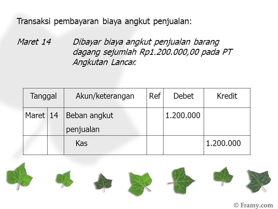 Transaksi pembayaran biaya angkut penjualan: Maret 14