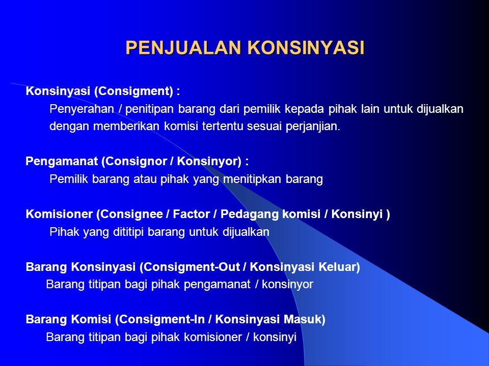 PENJUALAN KONSINYASI Konsinyasi (Consigment) :