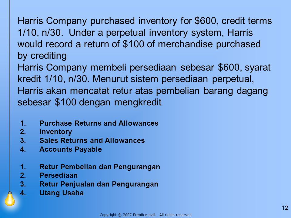 Harris Company purchased inventory for $600, credit terms 1/10, n/30