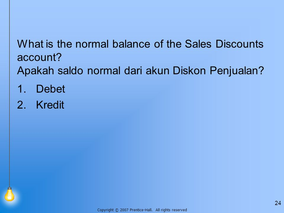 What is the normal balance of the Sales Discounts account