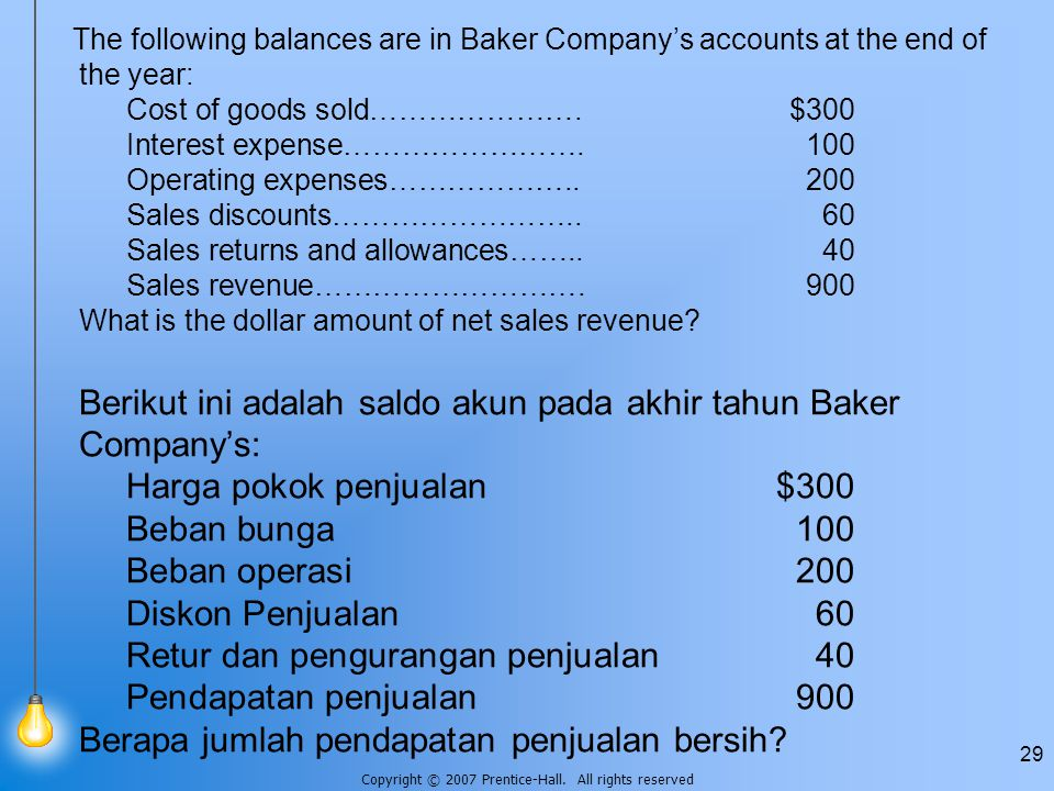 The following balances are in Baker Company's accounts at the end of the year: Cost of goods sold…………………. $300 Interest expense……………………. 100 Operating expenses……………….. 200 Sales discounts…………………….. 60 Sales returns and allowances…….. 40 Sales revenue………………………. 900 What is the dollar amount of net sales revenue.