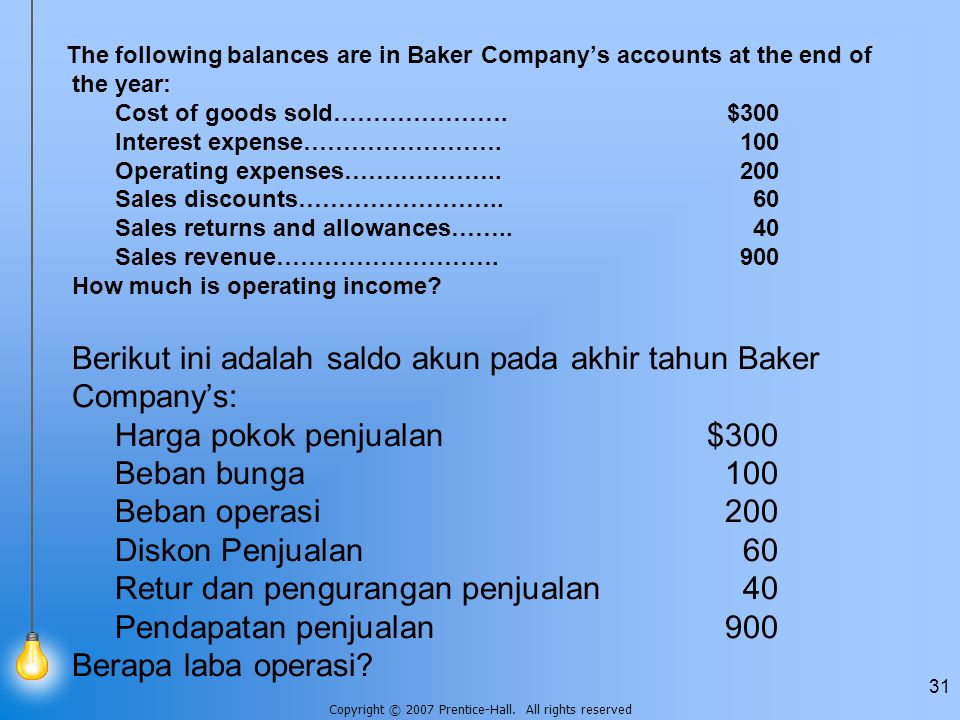 The following balances are in Baker Company's accounts at the end of the year: Cost of goods sold…………………. $300 Interest expense……………………. 100 Operating expenses……………….. 200 Sales discounts…………………….. 60 Sales returns and allowances…….. 40 Sales revenue………………………. 900 How much is operating income.