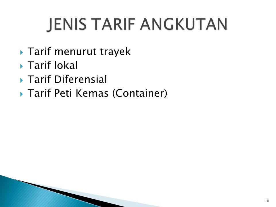 JENIS TARIF ANGKUTAN Tarif menurut trayek Tarif lokal