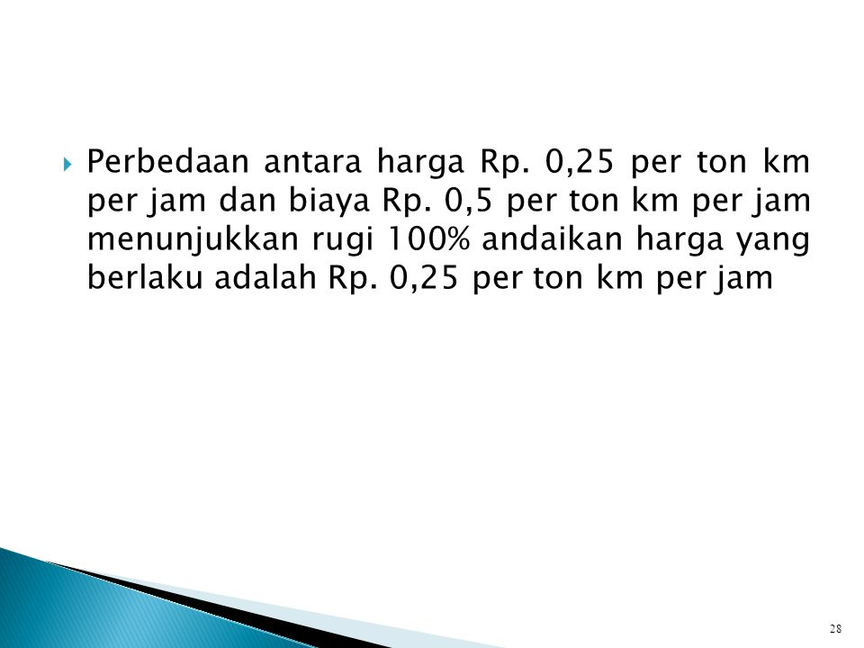 Perbedaan antara harga Rp. 0,25 per ton km per jam dan biaya Rp