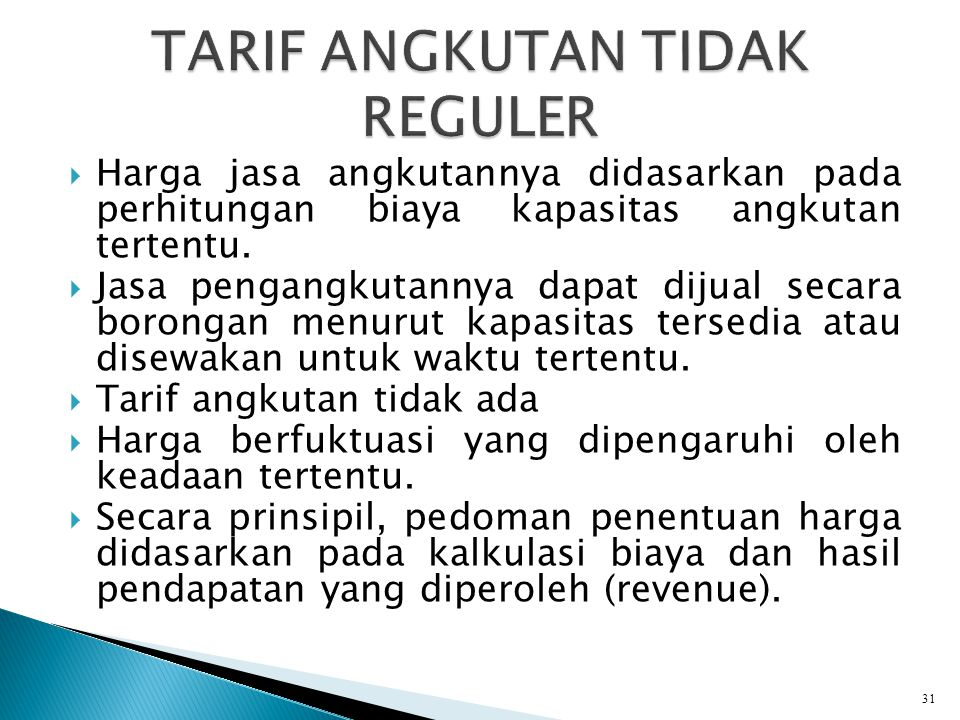 TARIF ANGKUTAN TIDAK REGULER