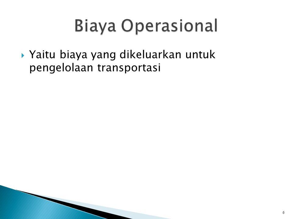 Biaya Operasional Yaitu biaya yang dikeluarkan untuk pengelolaan transportasi