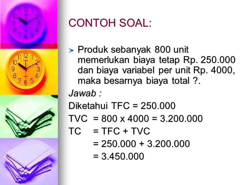 CONTOH SOAL: Produk sebanyak 800 unit memerlukan biaya tetap Rp. 250.000 dan biaya variabel per unit Rp. 4000, maka besarnya biaya total .