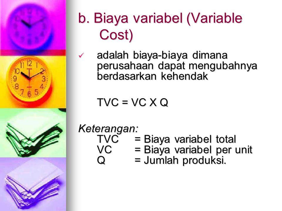 b. Biaya variabel (Variable Cost)