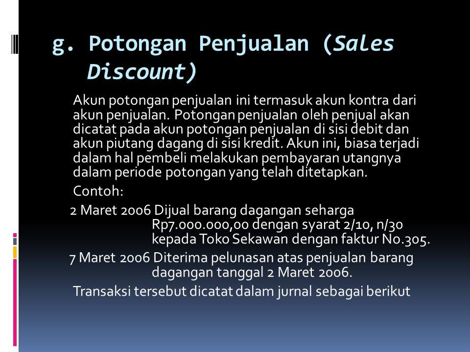g. Potongan Penjualan (Sales Discount)